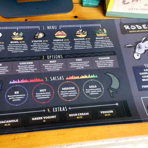 restaurant signage and menu design