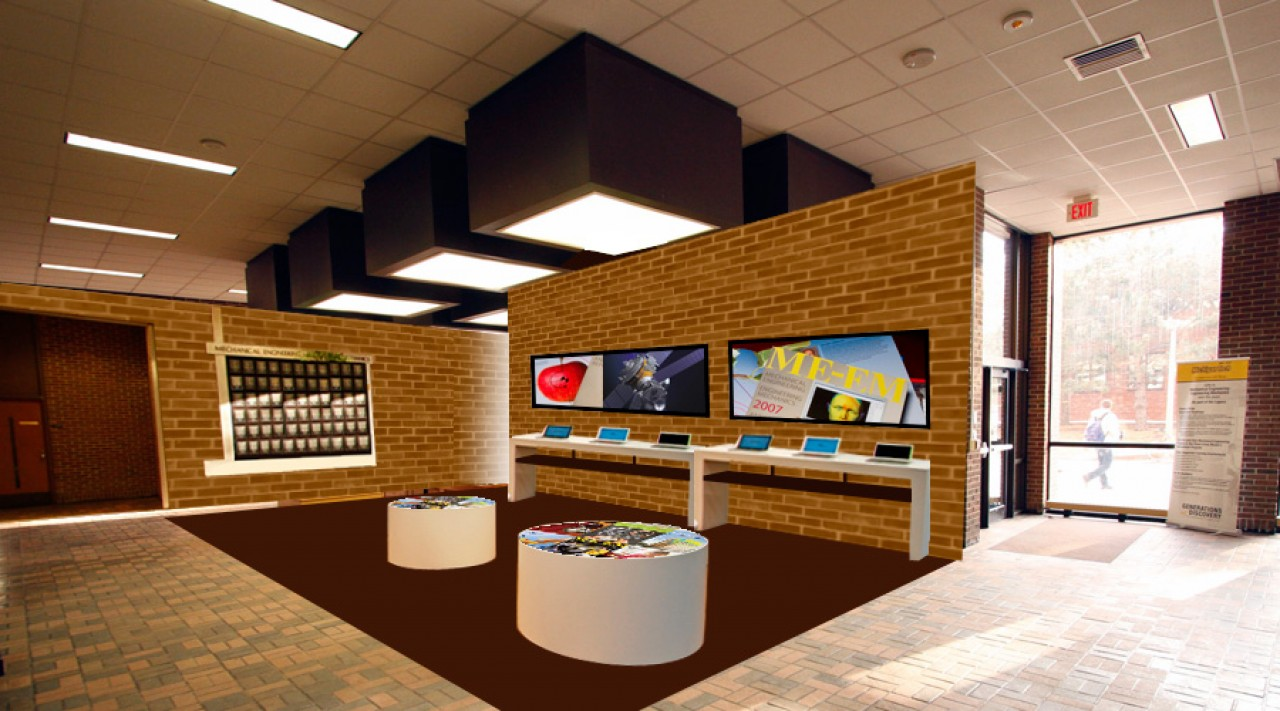 branded lobby cad modeling