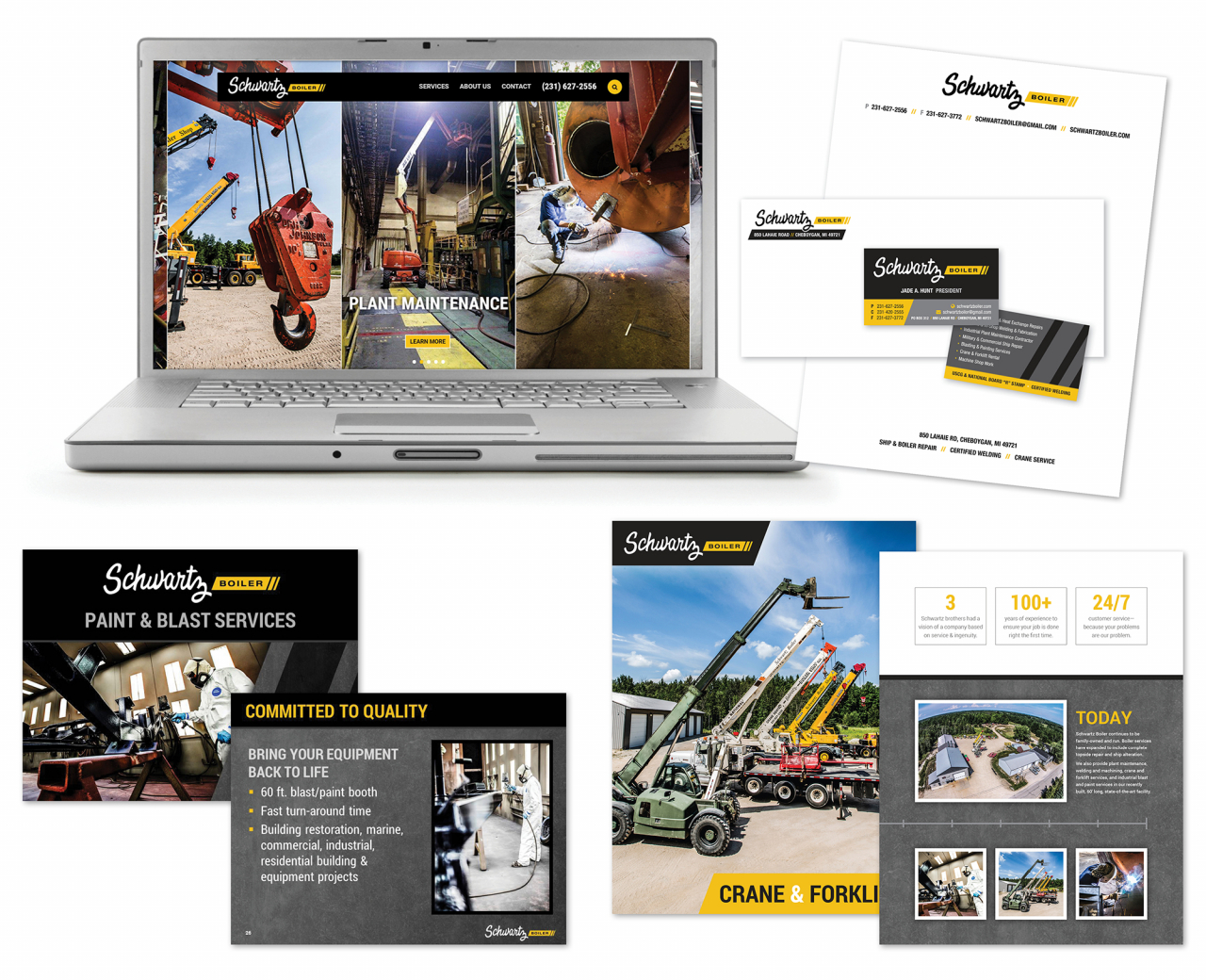 industrial logo brochure business card design