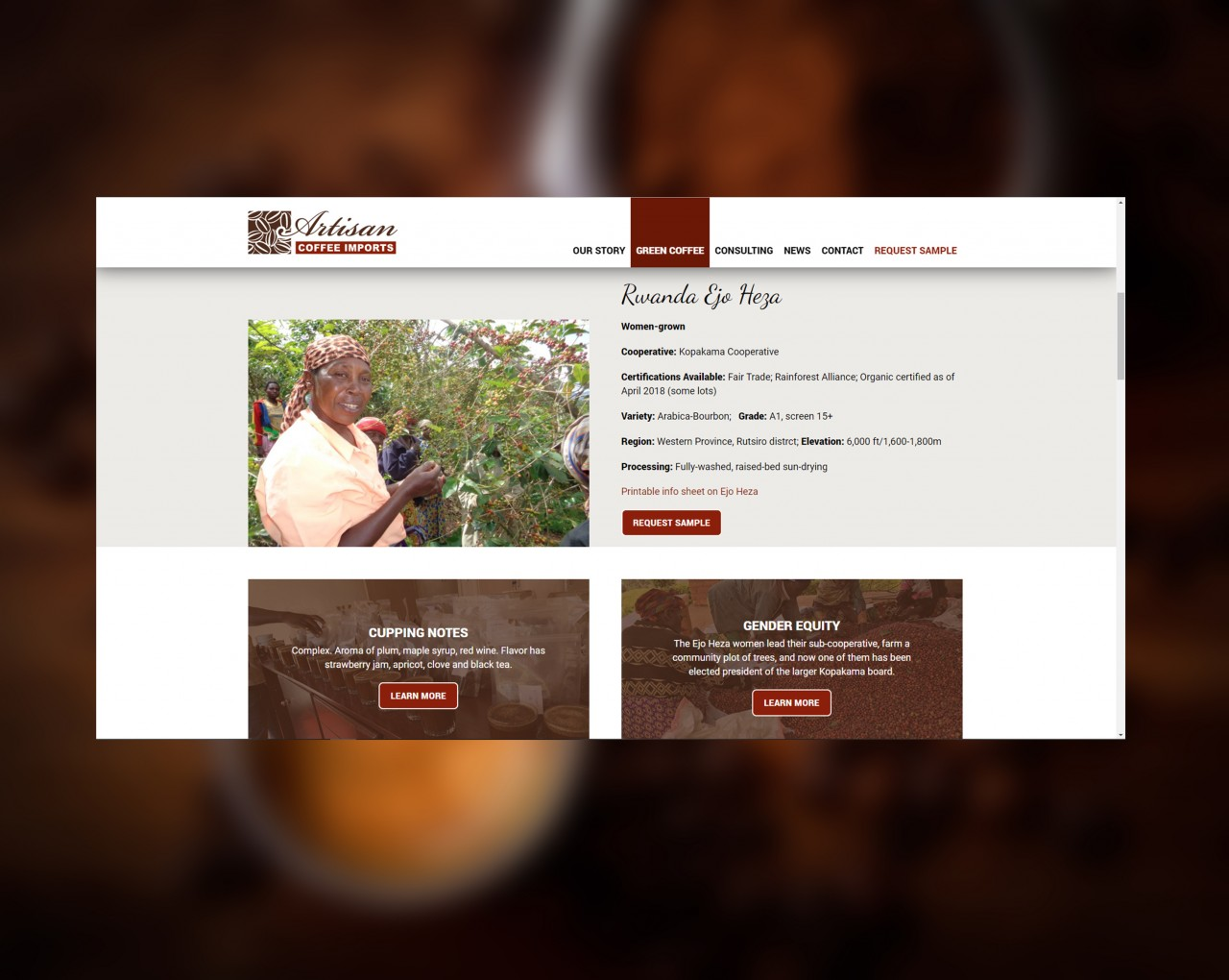 coffee website design dev