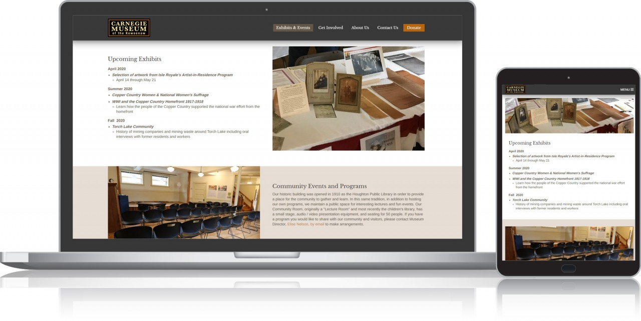museum custom website design