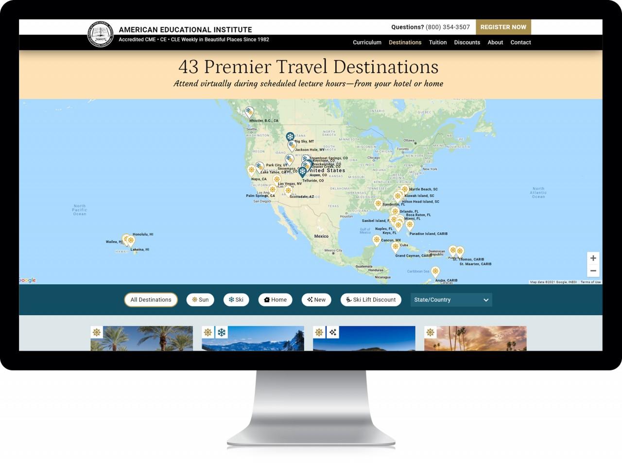 american educational institute destination map