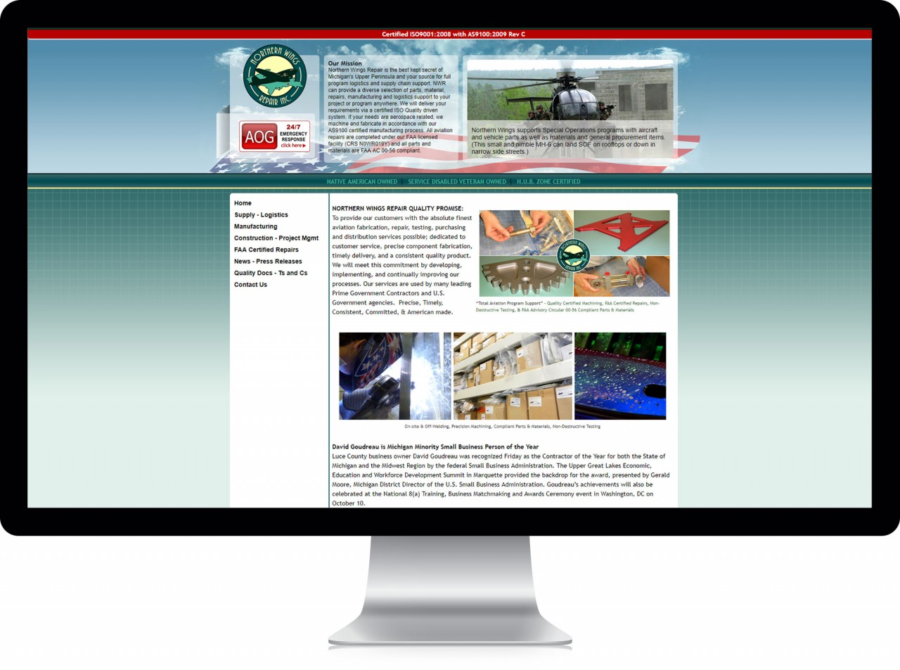 aerospace website redesign