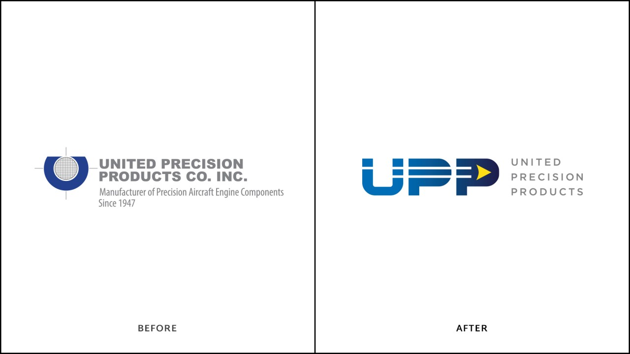 monte logo design before after aerospace UPP