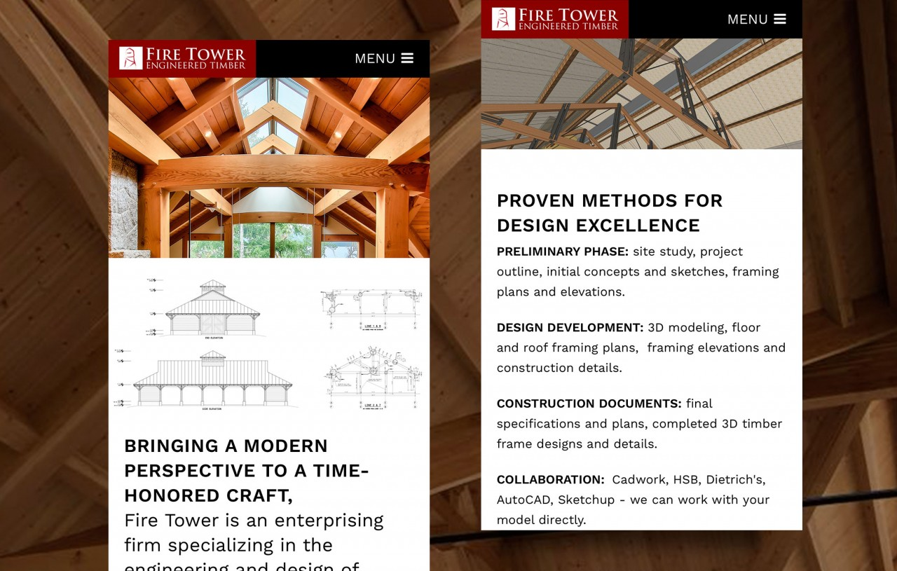 timber frame construction mobile responsive website