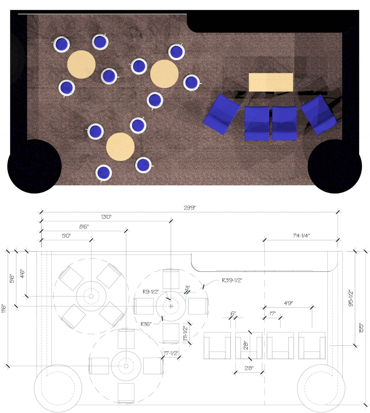 top down view of lobby design